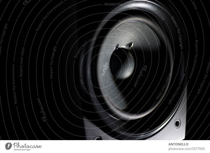 Stereo-Lautsprecher Nahaufnahme Technik & Technologie Unterhaltungselektronik High-Tech Musik Musik hören Musiknoten Medien Schalen & Schüsseln Kasten Holz