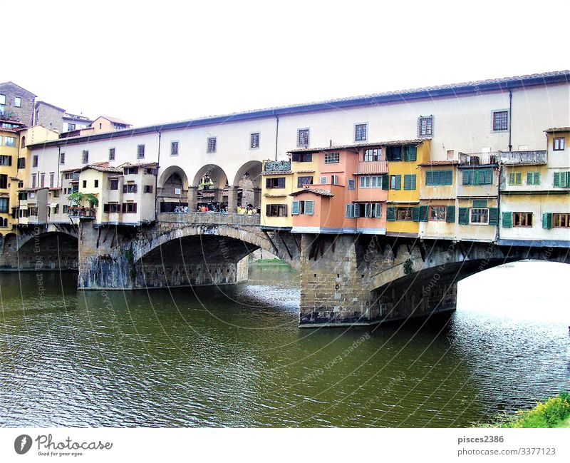 Ponte Vecchio in Florence Ferien & Urlaub & Reisen Natur ancient antique Gateway Arch architecture Arno beauty bridge construction culture day Europa european