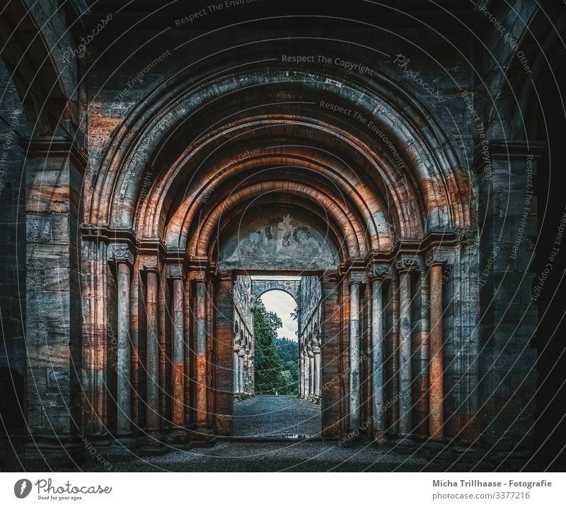 Eingangsportal Paulinzella Deutschland Ruine Bauwerk Architektur Kloster Portal Säule Torbogen Mauer Wand Fassade entdecken gigantisch groß blau braun grün