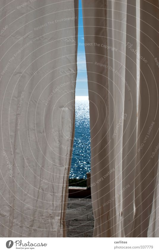 Lichtblick Urelemente Luft Wasser Wärme Meer ästhetisch Vorhang Horizont glänzend träumen Erholung mediterran Ferien & Urlaub & Reisen Mallorca blenden blau
