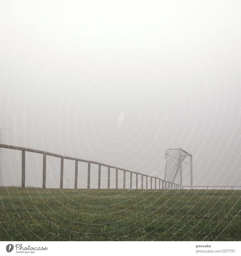 netzsicherheit Ballsport Sportstätten Fußballplatz Wetter Nebel Gras Wiese Bekanntheit eckig rund grau grün Sportrasen Fußballtor Geländer Netz Netzsicherheit