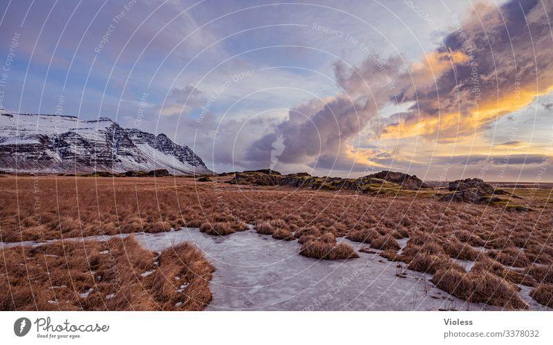 Berge, Wolken, Landschaft, Natur Himmel Sonne Sonnenaufgang Sonnenuntergang Sonnenlicht Wetter Wind Sturm Hügel Felsen bedrohlich Kitsch natürlich Island