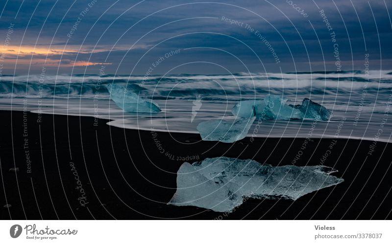 Island, Eis, Jökulsarlon, Gletscher Schnee Frost kalt blau Jökulsárlón Gletscher Vatnajökull Lagune Eisberg Gletscherzunge Farbfoto Wasserfall
