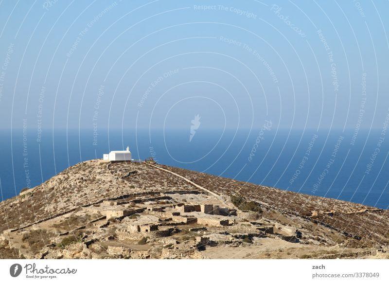 Ortodoxe Kapelle auf Folegandros, Griechenland Insel Ägäis Kykladen Mittelmeer Meer Himmel Küste blau Hügel Kirche Religion & Glaube Orthodoxe Kirchen