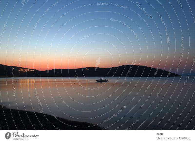 Morgenstimmung am Mittelmeer auf der Insel Serifos, Griechenland Ägäis Kykladen Meer Außenaufnahme Dämmerung Langzeitbelichtung Menschenleer Textfreiraum oben