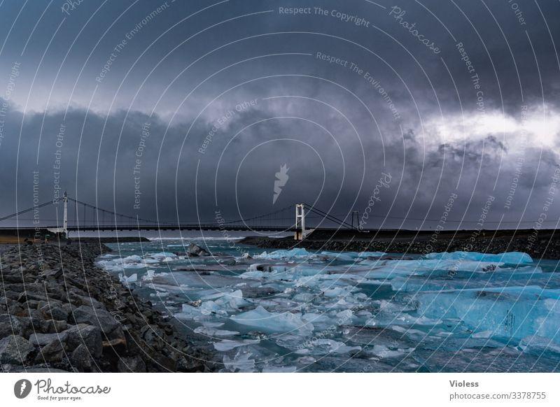 Eis, Gletscher, Island, Jökulsarlon Schnee Frost kalt blau Jökulsárlón Gletscher Vatnajökull Lagune Eisberg Gletscherzunge Farbfoto Wasserfall