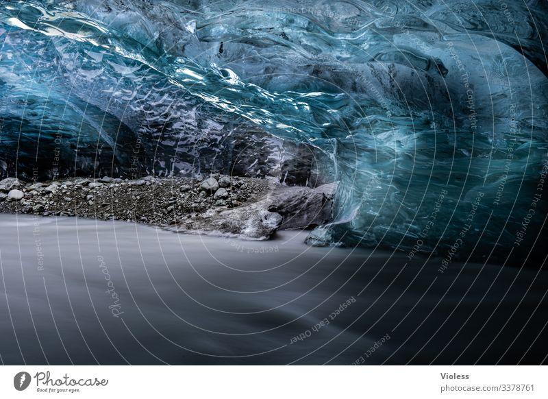 Gletscher, Island, Eis, Blau Schnee Frost kalt blau Jökulsárlón Gletscher Vatnajökull Lagune Eisberg Gletscherzunge Farbfoto