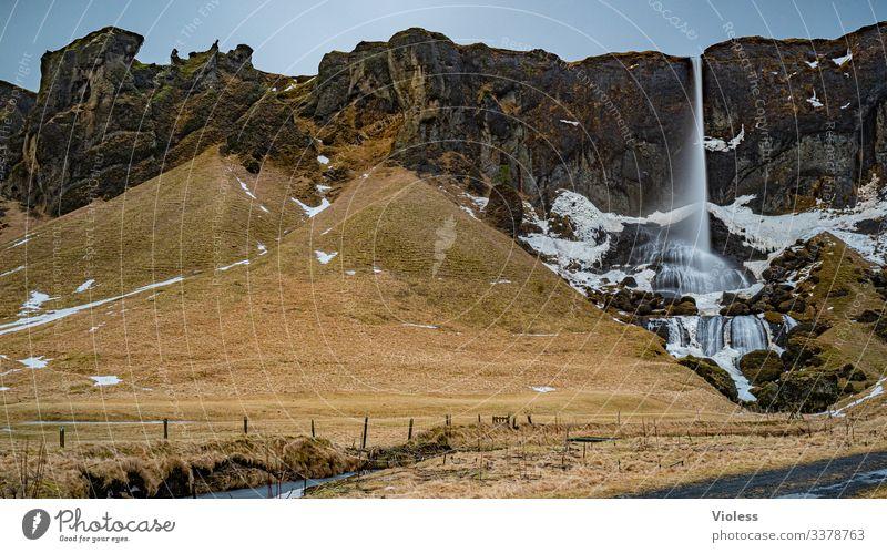 Berge, Wolken, Landschaft, Natur Himmel Wetter Wind Sturm Hügel Felsen natürlich Island Farbfoto Außenaufnahme Licht Schatten Wasserfall