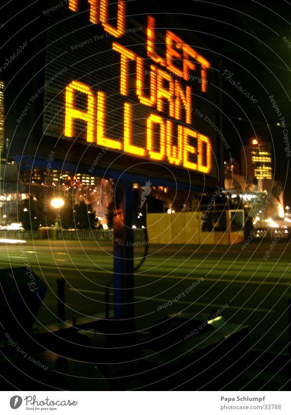 no U-turn Stadt Beleuchtung Australien Straßenbeleuchtung Signal Verkehrsschild
