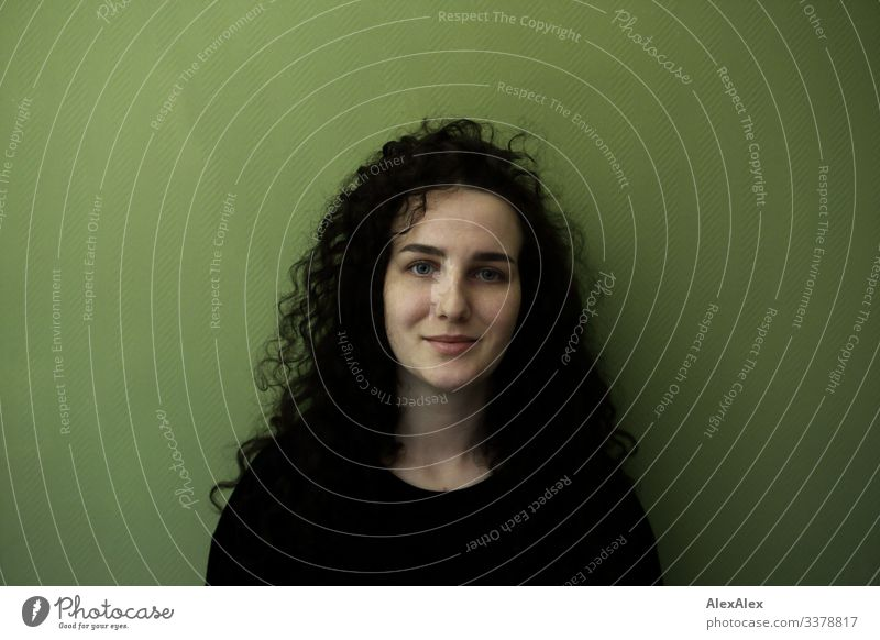 Portrait einer jungen Frau vor grüner Wand Freude schön Wohlgefühl Wohnung Junge Frau Jugendliche 18-30 Jahre Erwachsene Pullover schwarzhaarig langhaarig