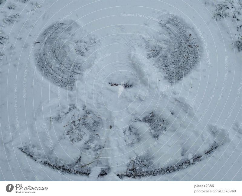 Photo of a snow angel on a path Winter Weihnachten & Advent Natur Ferien & Urlaub & Reisen tree road covered snowcapped landscape Deutschland Frost frozen