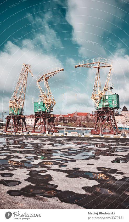 Hafenkräne auf der Insel Szczecin Lasztownia, mit Farbabtönung, Polen. Portwein Kranich industriell Asphalt Pfütze altehrwürdig gefiltert Einfluss Großstadt