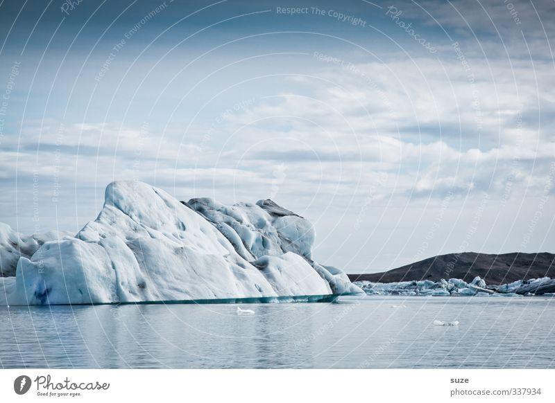 Verschollen Himmel Natur Ferien & Urlaub & Reisen blau weiß Wasser Meer Einsamkeit Landschaft Wolken Winter kalt Umwelt außergewöhnlich Horizont Eis