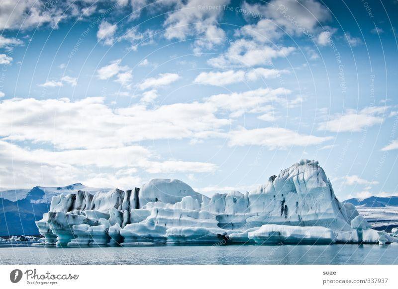 Iceland Ferien & Urlaub & Reisen Meer Winter Umwelt Natur Landschaft Urelemente Wasser Himmel Wolken Horizont Klima Klimawandel Eis Frost Gletscher