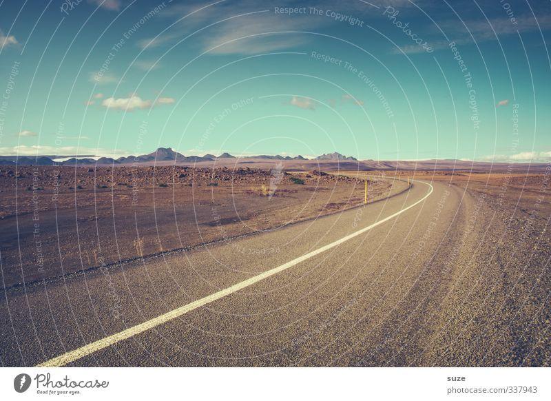 Ringstraße Nr.1 Himmel Einsamkeit Wolken Ferne Umwelt Straße Wege & Pfade Freiheit Linie Horizont Klima Schönes Wetter Unendlichkeit fantastisch Ziel Asphalt