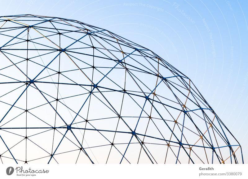 Kunst Himmel Architektur Metall Kugel Linie dünn modern Hintergrund verbinden Anschluss Konstruktion leer Bruchstück Geometrie Übergang bügeln vereinzelt