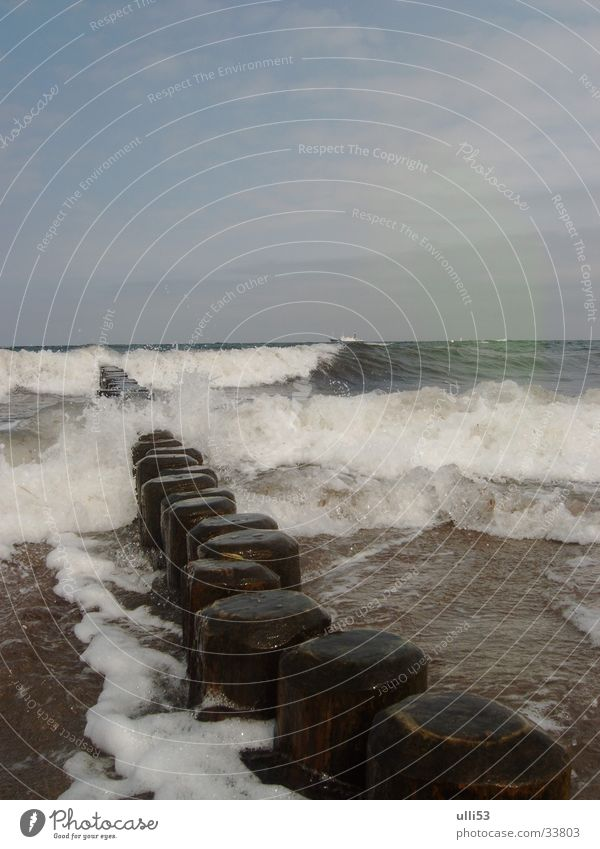 schäumendes Meer (2) Wasser Strand Wellen Wind Ostsee Schaum Buhne Windgeschwindigkeit