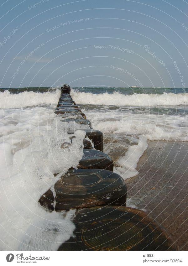 schäumendes Meer Wasser Sommer Strand Wellen Wind Ostsee Schaum Buhne Windgeschwindigkeit