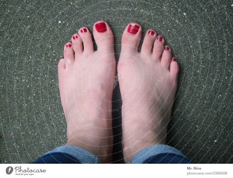 lackiert - andersrum Füße zehen asphalt farbfoto stylen Barfuß stillgestanden stehen Fußnägel Vogelperspektive warten rot feminin Pediküre Körperpflege