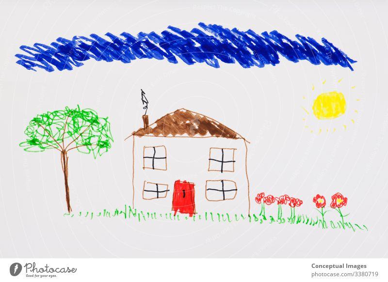 Kinderzeichnung eines Hauses Kindheit Kreativität Zeichnungen Bildende Kunst Brainstorming heimwärts Skizze Zukunft planen Ehrgeiz Aspirationen Draufsicht