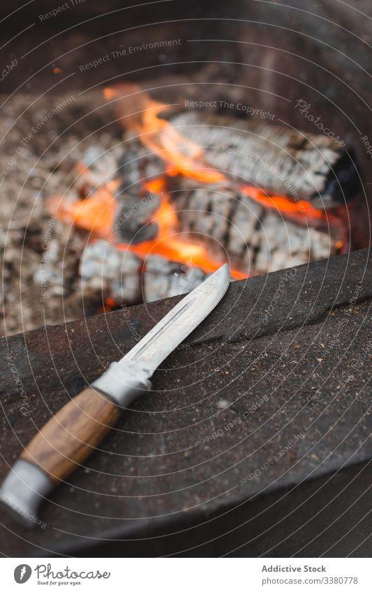 Jagdmesser neben dem Kamin Feuer Messer Feuerstelle Freudenfeuer Flamme erwärmen Brandwunde heiß jagen hölzern Brennholz Werkzeug Stahl Instrument Holz bügeln
