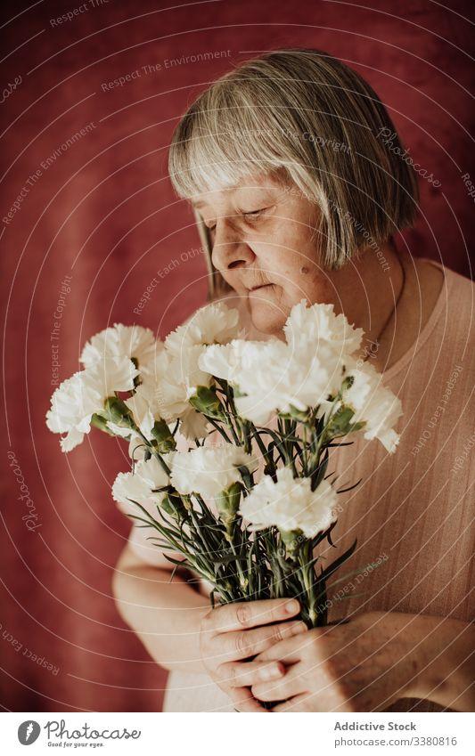 Nachdenkliche ältere Frau mit Blumen zu Hause alt Nelke Blumenstrauß geblümt natürlich Geschenk frisch Frühling feiern duftig Veranstaltung Feiertag festlich