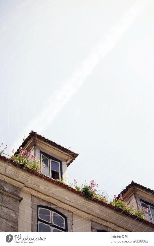 Lisbon's roofs. Kunst ästhetisch Zufriedenheit Häusliches Leben Haus Dach Fassade Lissabon Urlaubsort Sommerurlaub Himmel verfallen Idylle Fenster Portugal