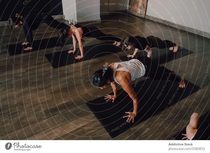 Frauen, die Yoga in Brettchenstellung praktizieren sportlich positionieren Schiffsplanken üben Dehnung Klasse Training beweglich Übung Pose Körper