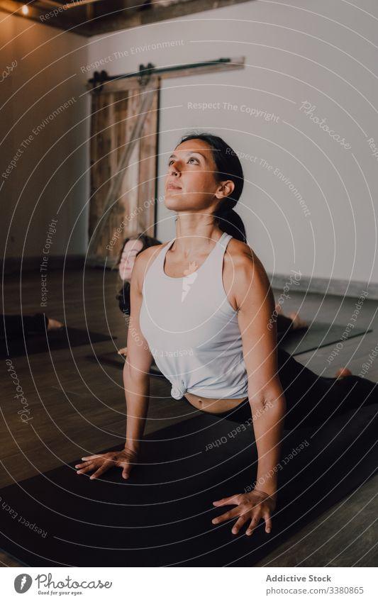 Frau, die Yoga in aufwärts gerichteter Hundehaltung praktiziert sportlich positionieren üben Dehnung Klasse Training beweglich Übung Pose Körper Sportbekleidung
