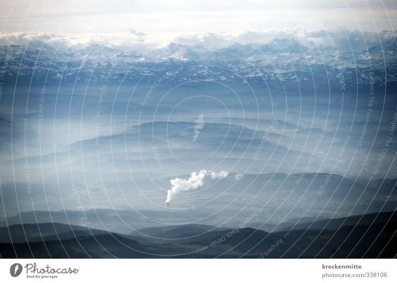 Wolkenatlas Himmel Natur blau Landschaft Umwelt Berge u. Gebirge Felsen fliegen Energiewirtschaft Luftverkehr Elektrizität bedrohlich Gipfel Alpen Hügel