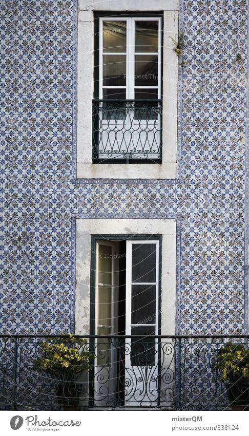 Kachelfassade. Kunst ästhetisch Fliesen u. Kacheln Fassade Fassadenverkleidung Portugal Lissabon Balkon altmodisch verfallen edel antik Muster Symmetrie Tür
