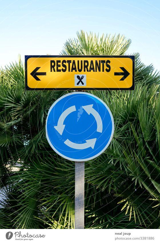 Freude Ferien & Urlaub & Reisen Restaurant Palme Verkehrszeichen Verkehrsschild Kreisverkehr Zeichen Schilder & Markierungen Hinweisschild Warnschild Diät