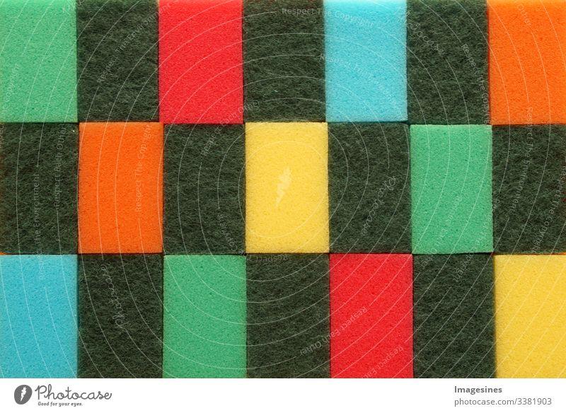 Abstrakte Schwamm Textur. Reinigungsschwamm Muster. Reinigungsset Schwamm Hintergrund. viele farbige Schwämme, Küchen-Schwamm Textur abstrakt textur