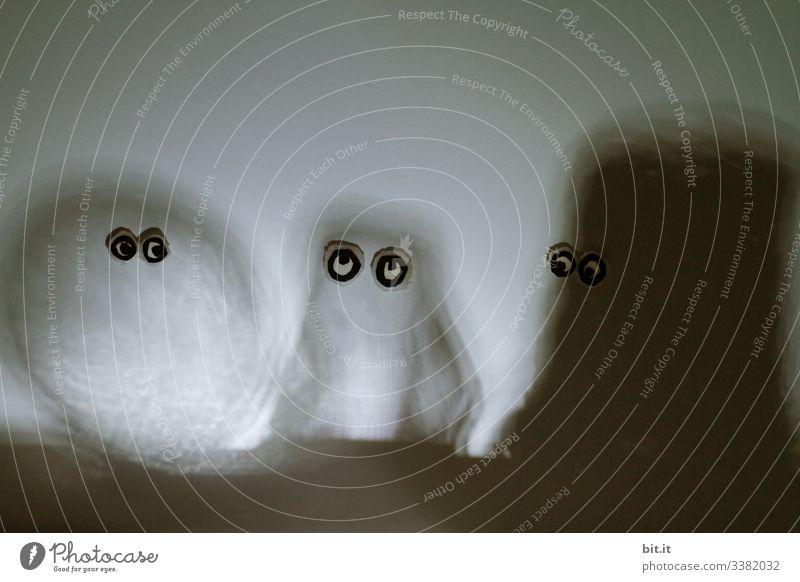 Drei lustige, skurrile, witzige Figuren, Wesen, Zwerge, Aliens, Monster, Gespenster, Männchen in Schwarz, Weiss und Grau, als Silhouette aus Licht und Schatten, mit witzigen, aufgeklebten Augen, stehen zusammen, nebeneinander und schauen neugierig.