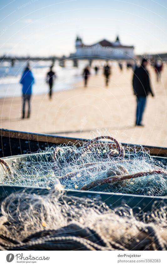 Zuviel los am Strand von Ahlbeck auf Usedom Sand Natur Meer Ferien & Urlaub & Reisen Fischernetz Deutschland Mecklenburg-Vorpommern Insel Ostseeinsel