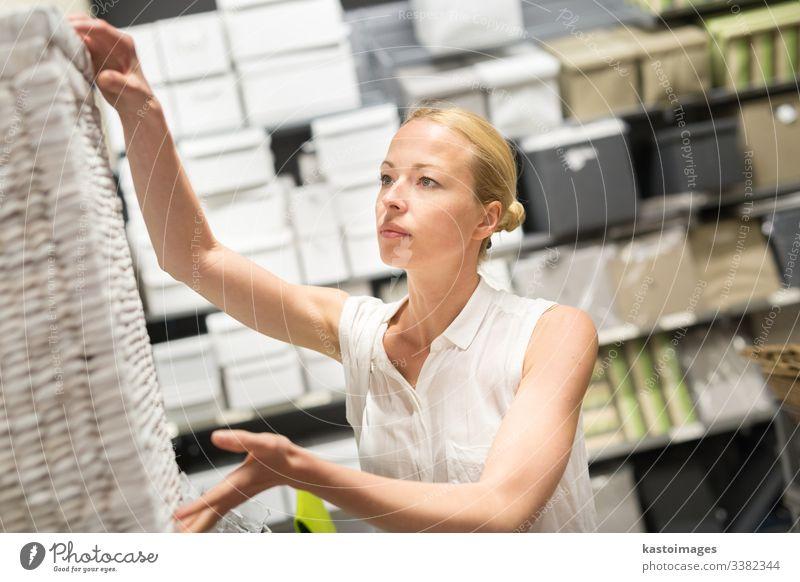 Hübsche junge Frau beim Einkaufen im Einzelhandelsgeschäft. Werkstatt Käufer heimwärts Kasten Möbel Erwachsener Laden Wahl Design Glück Blick Verbraucher
