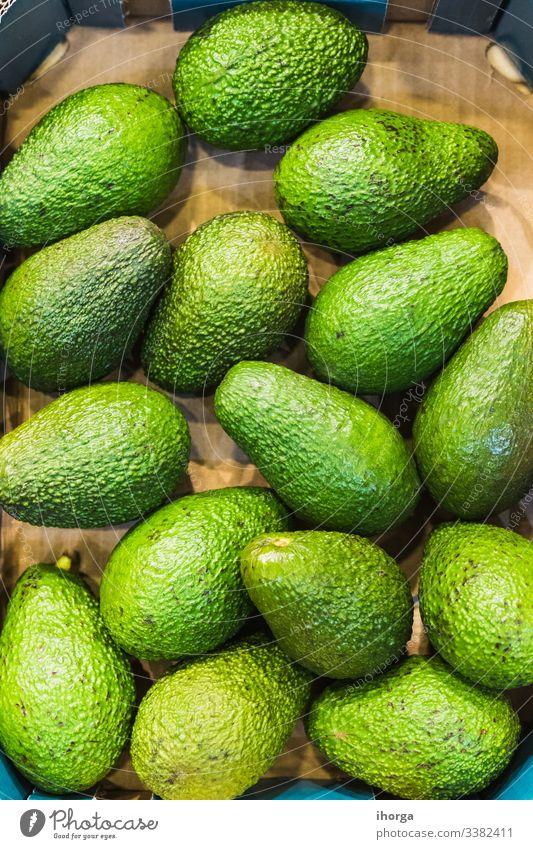Ausstellung von grünen Avocados zum Verkauf Saft Ackerbau Hintergrund Getränk Konzept lecker Diät Essen exotisch Lebensmittel frisch Frische Frucht Gesundheit