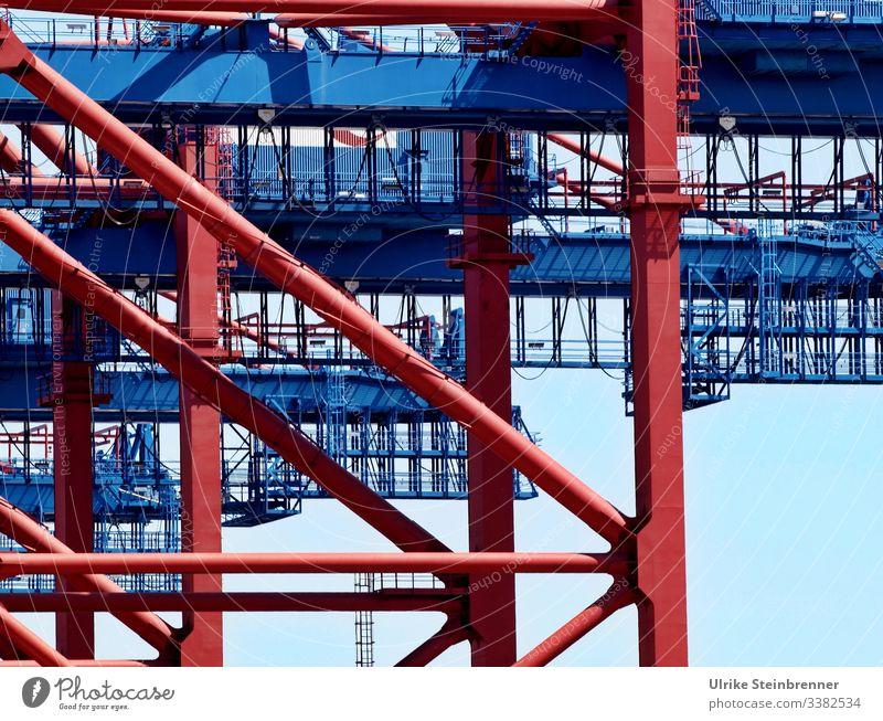 Containerterminal Burchardkai in Hamburg Hafen Verkehr Hamburger Hafen Güterverkehr & Logistik Metall Hafenstadt Schifffahrt Industrie Kran Containerverladung