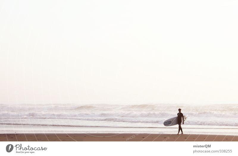 Manneken Surf. Mann Meer Strand Ferne Freiheit Küste Stil Kunst maskulin Wellen Freizeit & Hobby elegant Zufriedenheit laufen Lifestyle Design