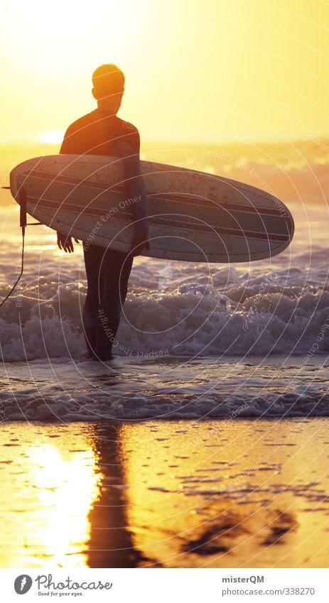 in or out. Mann Himmel (Jenseits) Meer Erotik Junger Mann Stil Lifestyle Kunst Design maskulin Freizeit & Hobby elegant Wellen gold ästhetisch stehen
