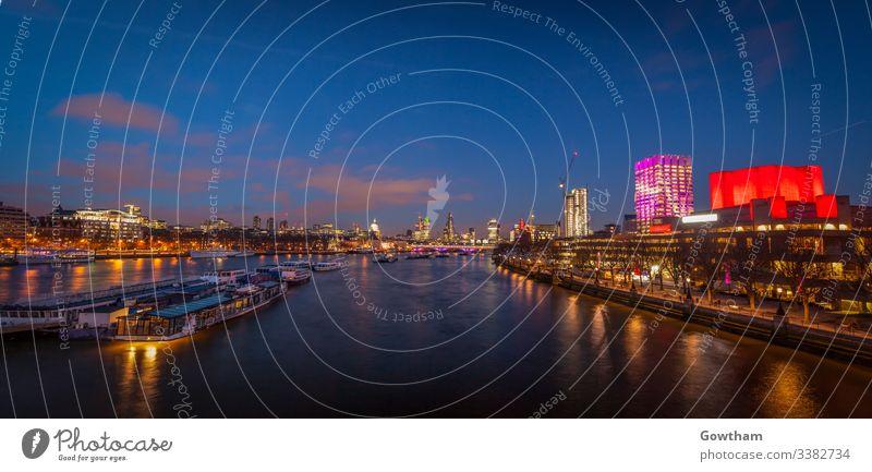 London-Panorama nach Sonnenuntergang Architektur Anziehungskraft Bank Lastkahn Boot Brücke britannien Briten Gebäude Business Großstadt Stadtbild wirtschaftlich