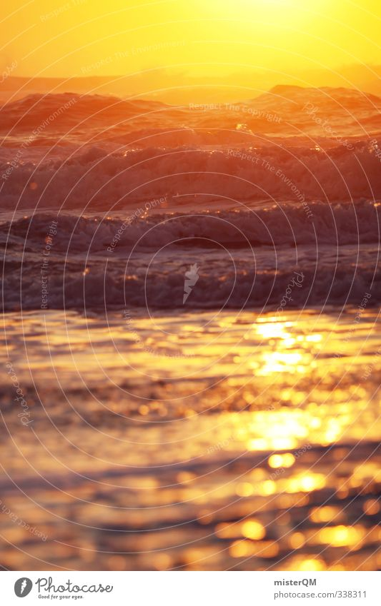 Deep Gold I Kunst ästhetisch Zufriedenheit abgelegen Sehnsucht Hoffnung Horizont Meer Meerwasser Wellen Wellengang Wellenform Idylle friedlich