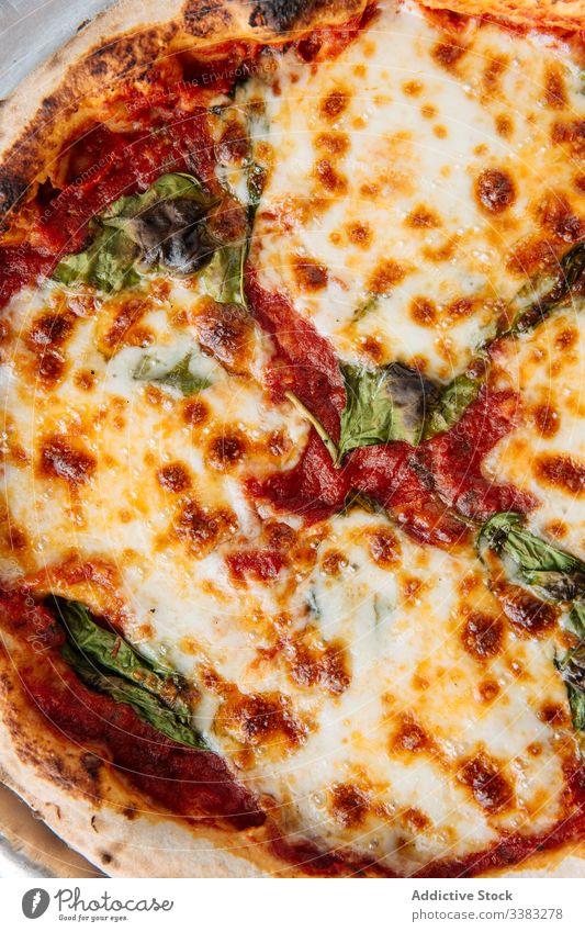 Frische Pizza mit Käse im Restaurant Speise Lebensmittel Mahlzeit geschmackvoll Tradition Italienisch Mittagessen lecker Küche rund frisch Kraut Teller Portion