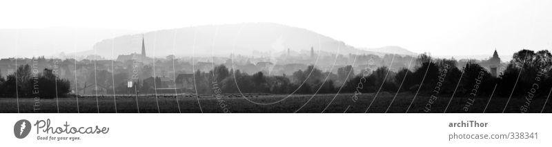 Heringen an der Werra Ausflug Ferne Natur Sonnenaufgang Sonnenuntergang Sonnenlicht Nebel Feld Wald Hügel Kleinstadt Menschenleer Sehnsucht Heimweh Fernweh