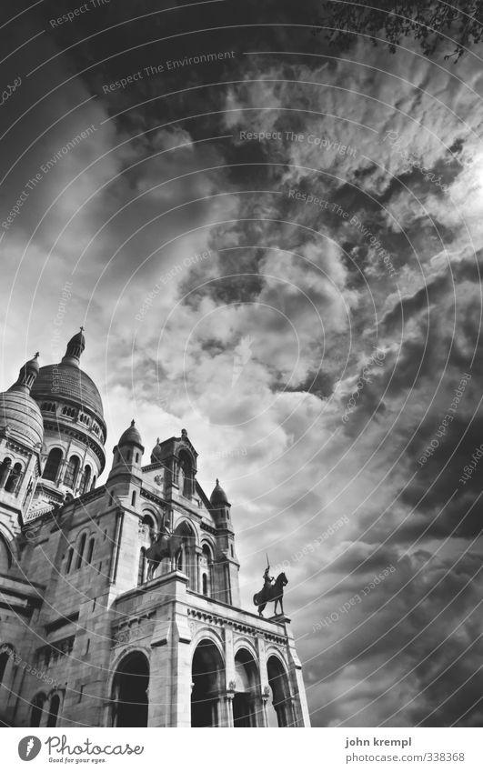 Heiligstes Herz Paris Frankreich Hauptstadt Kirche Bauwerk Gebäude Architektur Basilika Fassade Kuppeldach Sehenswürdigkeit Sacré-Coeur ästhetisch groß Schutz