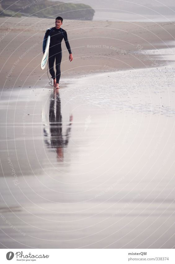 walking surfer. Lifestyle elegant Stil exotisch Freizeit & Hobby ästhetisch Zufriedenheit Feierabend Surfen Surfer Surfbrett Surfschule Strand Sandstrand Küste