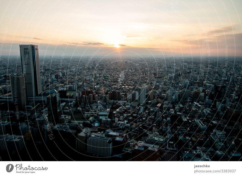 Tokio Tokyo Großstadt Millionenstadt Metropole Skyline Japan Aussicht Stadt Hochhaus Hauptstadt Stadtzentrum Vogelperspektive Asien Überbevölkerung