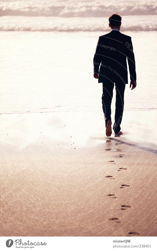 overdressed. Mann Ferien & Urlaub & Reisen Meer Erholung ruhig Sand Kunst maskulin Wellen Idylle Zufriedenheit laufen Bekleidung Zukunft ästhetisch Spaziergang