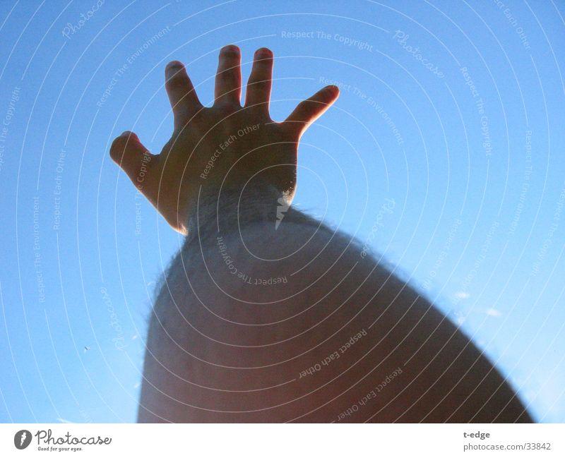 reach Mann Hand Himmel blau Schönes Wetter