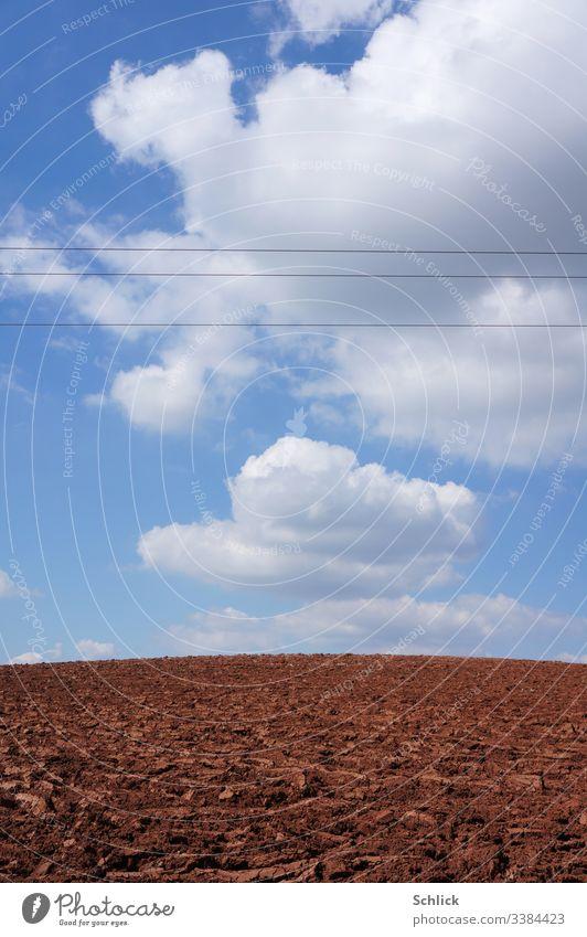 Kahler Acker und Himmel mit Kumulus Wolken von Hochspannungsleitungen durchschnitten Monokultur Feld Stromleitung Horizont Hügel Kulturlandschaft Ackerbau